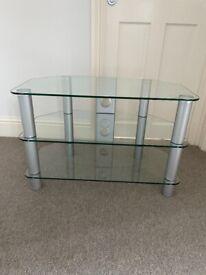 Glass shelf TV stand