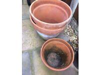 3 Terra Cotter Plant Pots