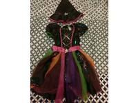 Girls colourful Witch type dress and hat Age 7 to 8