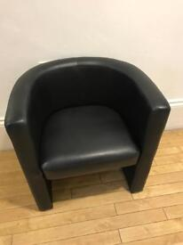 Black faux leather tub chairs, 5 available