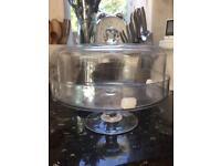 "Cake stand glass Covered new unused 9"" /23cm Diam"