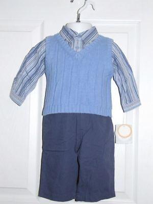 NEW Lullaby Club Boys 3 Piece Set Shirt, Vest, & Pants Size 6 Monts (New Lullaby Set)