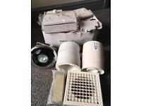 Inline shower extraction fan kit and sockets