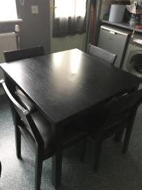 Black wooden table & 4 chair set