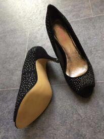 NEW Jones Black Suede Peep Toe Heels with embellishment. UK Size 5. Perfect for Christmas.