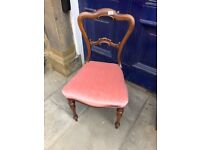 Bedroom Chair - Mahogany frame - Pink upholstery. Good condition and quality