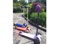 Mini Micro scooter x 3 - lilac sports edition £30, classic pink £20, classic blue £10