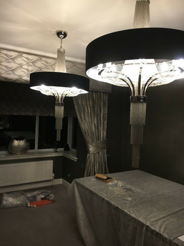X2 Brand New In Box Chandeliers With Black Shade 8x 40w By Libra