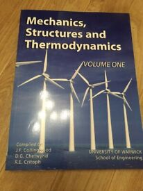 Engineering Mechanics, Structures and Thermodynamics volume 1...book never used as left course early