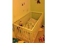 Cot bed GULLIVER White from IKEA with mattress