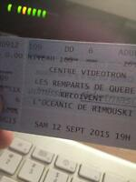 Remparts Oceanic 12Septembre 1 billet 40$