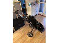 Ping Zing 2, regripped. Callaway bag. Putter, chipper, wedge, trolley & woods
