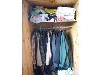 SOLID PINE Wardrobe: Two doors, internal rail & draw - Light/ Antique Pine