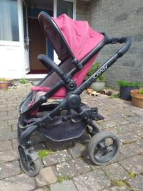 I Candy Peach double pram with buggy board