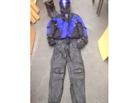 Ladies motorbike helmet leathers jacket boots gloves