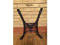 iron cast garden bench and table ends