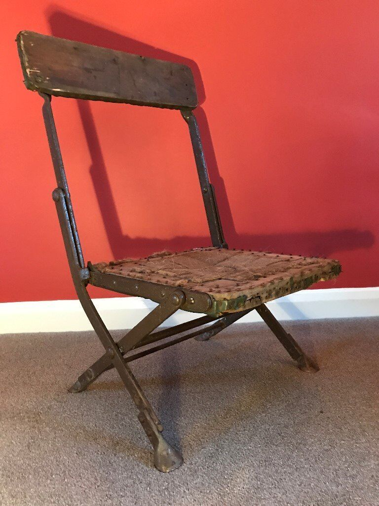Vintage metal and wood (possibly military issue) camping/picnic chair