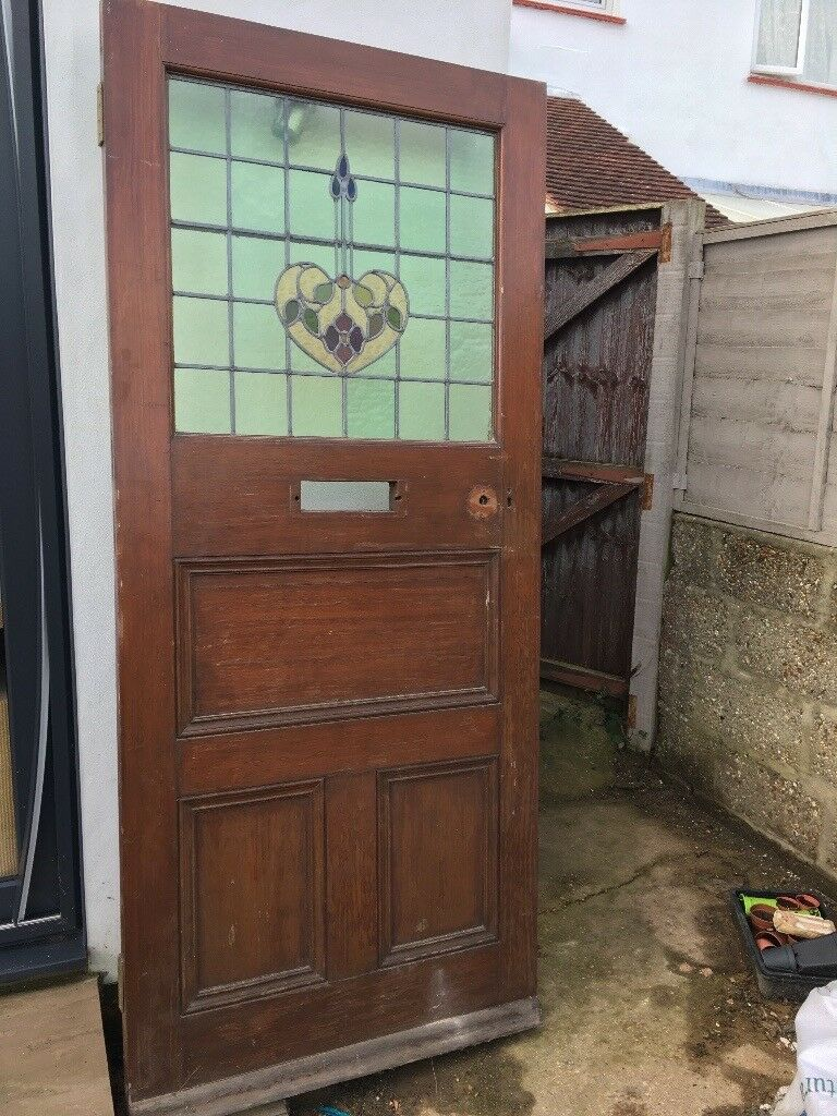 Front Door Edwardian With Stained Glass In Fareham Hampshire