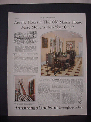 1925 Armstrongs Linoleum Floor Flooring Old Manor House Vintage Print Ad 11800