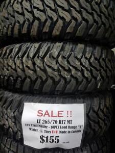 """LT 265/70 R17 MT SALE!! $155 NEW AGGRESSIVE MT - MUD - WINTER TIRES - 10 PLY - """"E"""" LOAD RANGE  -!! - SALE !! $155/tire"""