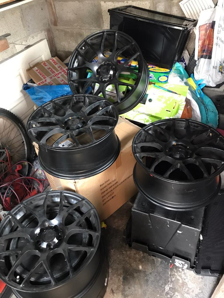 """18"""" Fox MS007 Matt Black Alloy Wheels cost 500 alone. Golf Audi 5 x 100 NO TYRES TYRES REMOVED SOLD"""