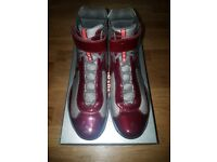 QUICK SALE/NO TIME WASTERS!! Red Authentic Prada Mens Americas Cup High Top Fashion Sneakers Size 9