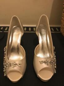 ElegantPark Women Peep Toe Rhinestones High Heel Satin Wedding Bridal Pumps Number 40