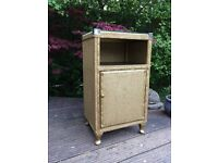 Vintage retro Lloyd loom style gold wicker bedside cabinet table glass top