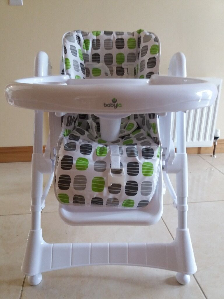 High chairin Maghera, County LondonderryGumtree - New Babylo high chair, hasnt been used. In neutral colours, suit boy or girl. Removable tray and storage basket. The chair can be moved up and down in different height positions and can also be reclined