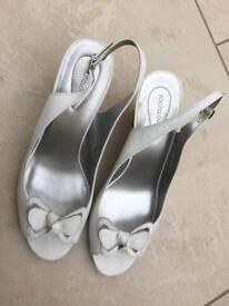 M&S white leather peep toe wedges size 7.5