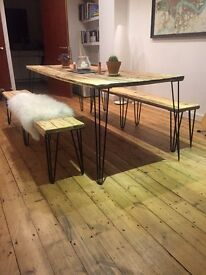 Reclaimed Wood Dining Table and 2 benches