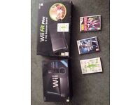 nintendo wii excellant condition limited black edition boxed inc wii fit and games