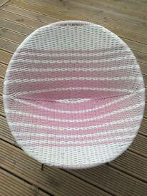 Vintage Retro Woven Vinyl Satellite Atomic Bucket Chair - RARE