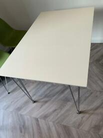 White table. John Lewis. Wooden with metal legs