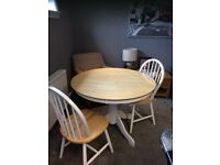 Round white and wooden kitchen / dining table and 4 chairs