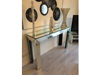 Large mirror console table