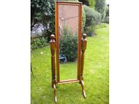 A BEAUTIFULCUNKY PINE CHEVAL MIRROR