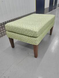 CLEARANCE Sofa com Club large rectangluar stool ottoman puffe in green geometric / free delivery