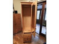 single pine wardrobe with mirror and draws excellent condition dovetail joints
