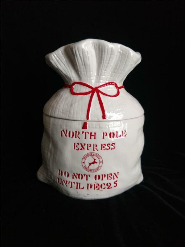 North Pole Express Flour Sack Cookie Jar by Rae Dunn Magenta