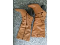 Ladies Knee High Tan Boots - SIZE 6