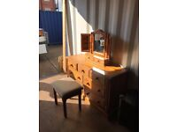 Quality solid dressing table, mirror and stool not flat pack
