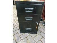 Black metal filing cabinet - lockable with key