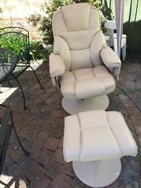 Beautiful Relaxateeze cream recliner and swivel chair and footstool