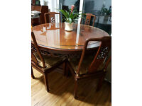 Chinese Rose wood table with 5 Chairs for Sale
