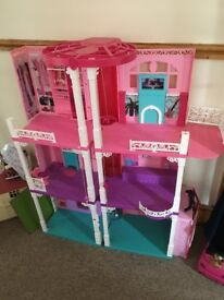 Barbie House and Accessories Including Car, Wardrobe, Barbie Clothes and Furniture for House