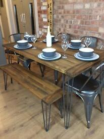New Handmade Bespoke Rustic Retro Industrial Table And 4 Chairs and Bench With Metal Hairpin Legs