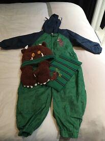 Age 2/3 gruffalo rainsuit, hat, scarf and gloves set