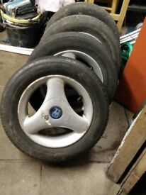 LOOK UPDATED BELOW £100 OR WHY FORD RS 3 SPOKE WHEELS WITH GOOD TYRES £100 OR WHY UPDATED BELOW LOOK