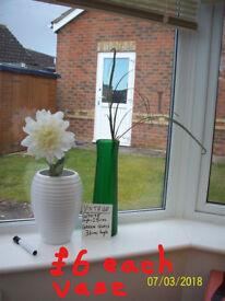 Vintage vases,white beehive and green glass.John Lewis flowers,Burgundy poppies,navy blue flowers